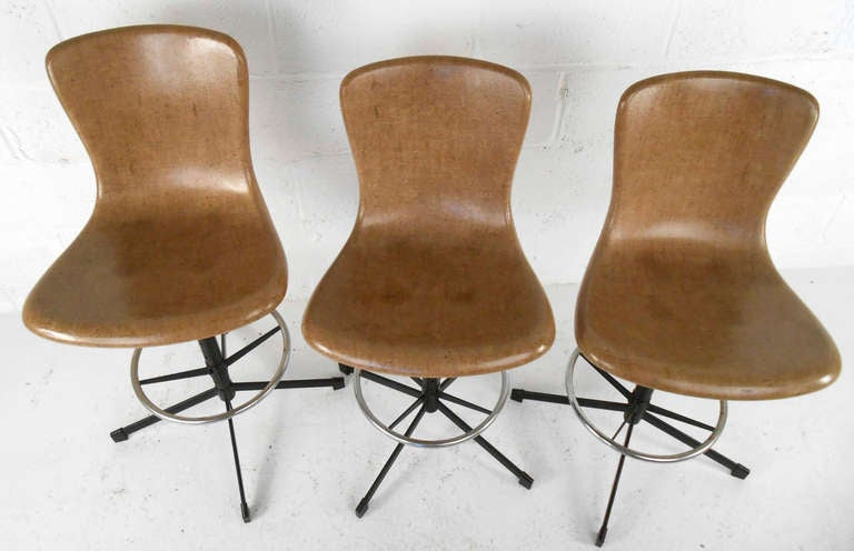 Set Of Mid Century Eames Style Swivel Bar Stools At 1stdibs