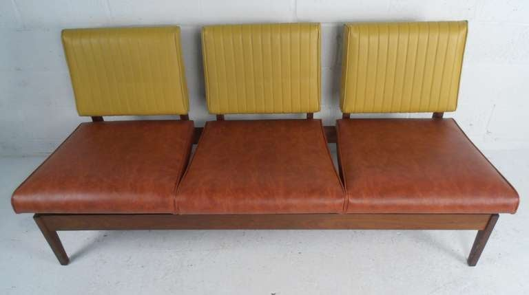 Mid Century Three Seater Bench By Marble Imperial