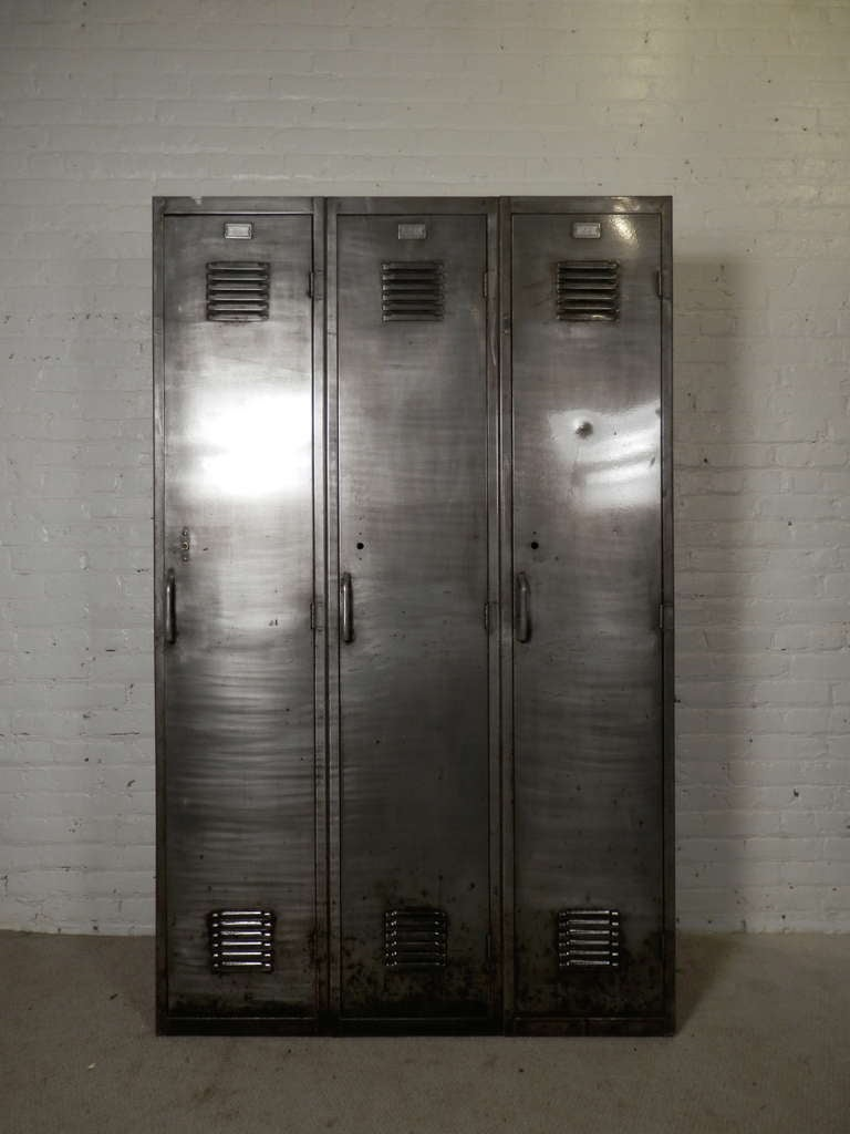 Beautiful Industrial Metal Wide Lockers, Newly Striped To Bare Metal For A Handsome  Machine Age Style
