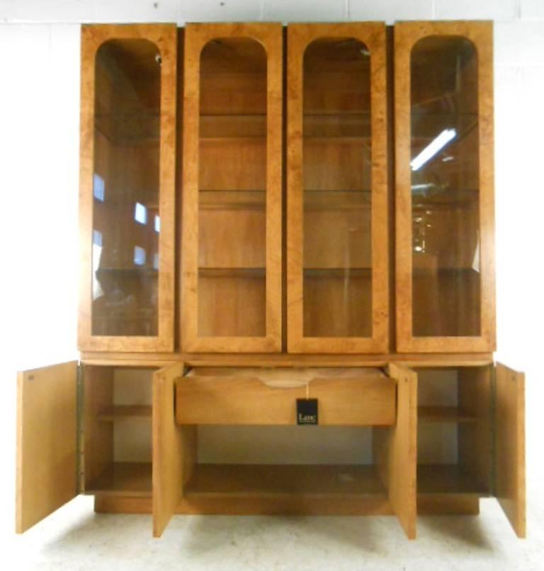 Mid-Century Modern Baughman Style Burlwood Display Cabinet Server for Lane For Sale 2