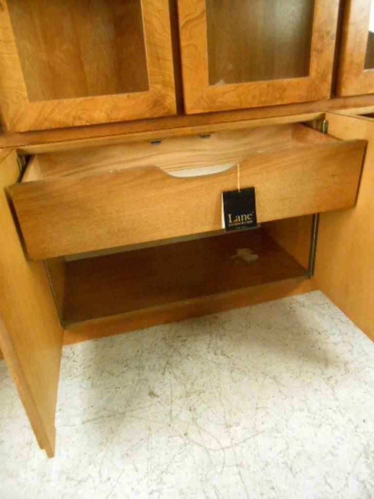Mid-Century Modern Baughman Style Burlwood Display Cabinet Server for Lane For Sale 3