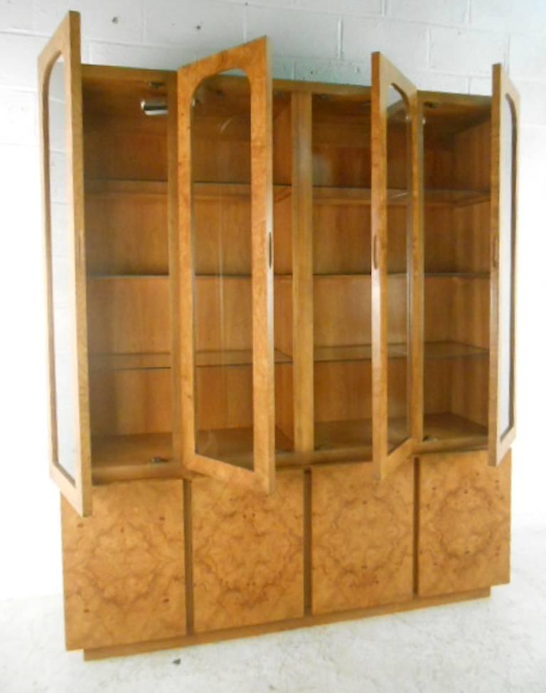 Mid-Century Modern Baughman Style Burlwood Display Cabinet Server for Lane For Sale 5