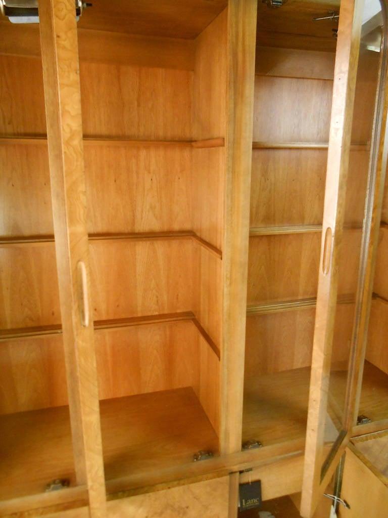 American Mid-Century Modern Baughman Style Burlwood Display Cabinet Server for Lane For Sale