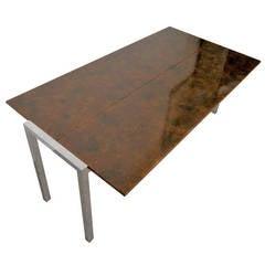 Splendid Midcentury Burl Fold Out Table