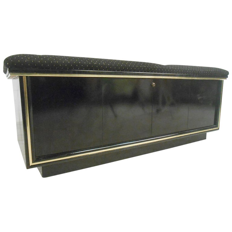 Mid-Century Modern Upholstered Cedar Bench Storage Chest for Lane