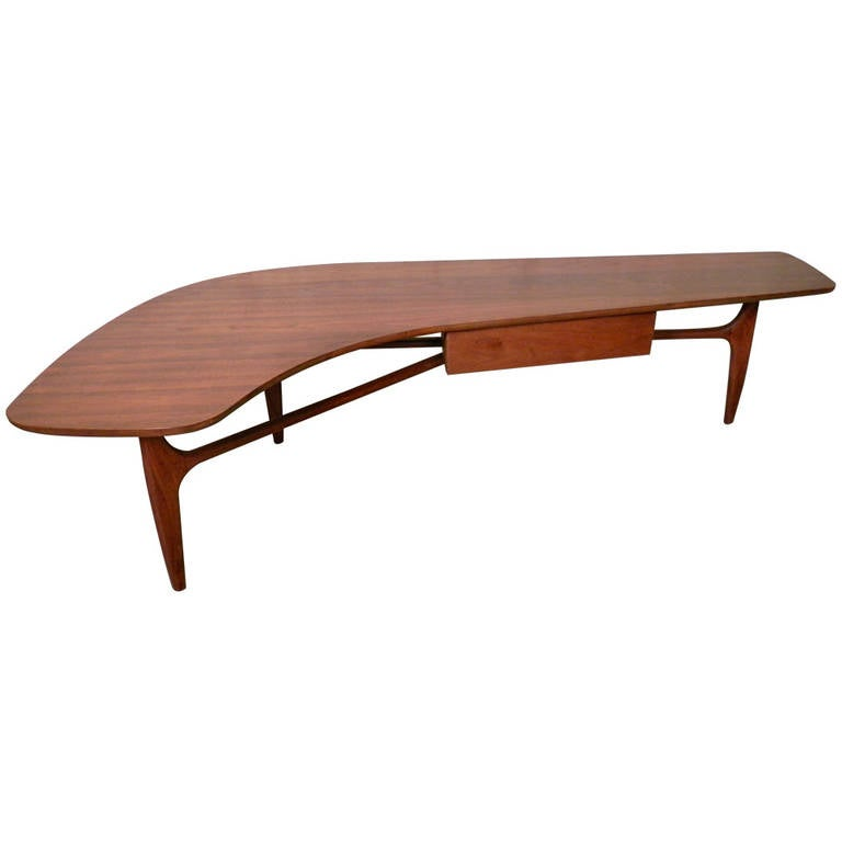 Unusual Mid-Century Modern Kidney Coffee Table For Sale At