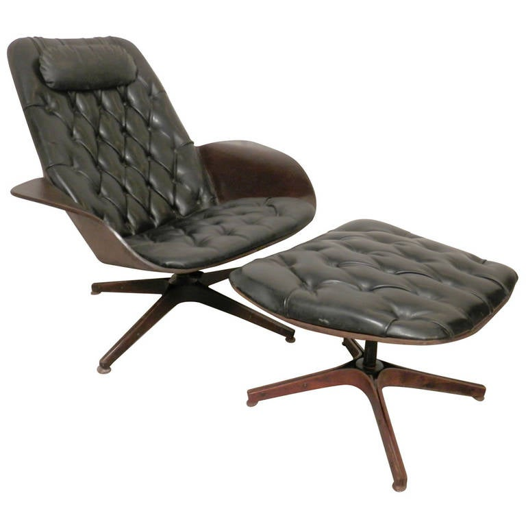 Eames Inspired Lounge Chair and Ottoman by George Mulhauser at 1stdibs