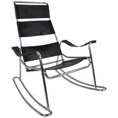 Mid-Century Modern Wassily Style Leather Strap and Chrome Rocking Chair