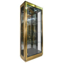 Mid-Cenury Modern Black Lacquer and Brass Mastercraft Display Cabinet