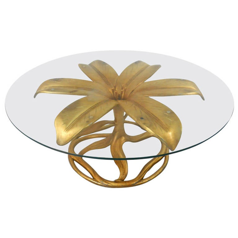 Midcentury Arthur Court Style Gilt Lily Coffee Table
