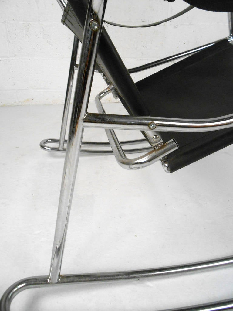 Mid Century Modern Wassily Style Leather Strap And Chrome