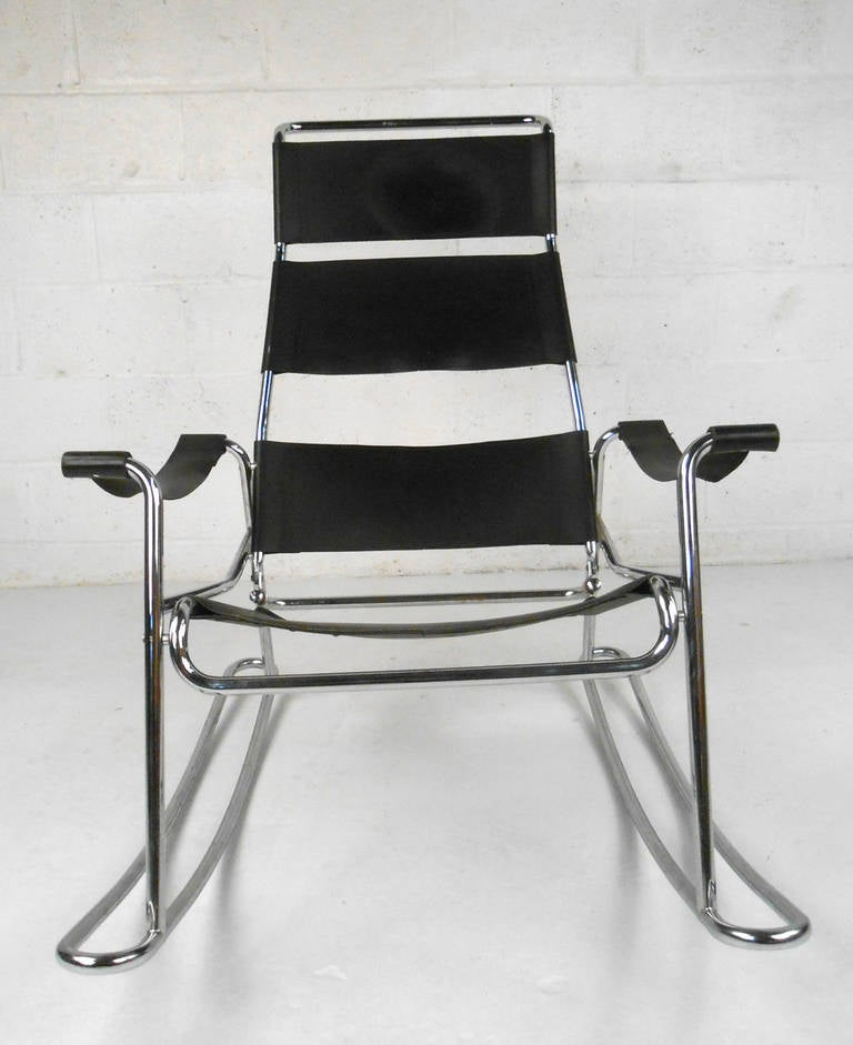 Mid Century Modern Wassily Style Leather Strap And Chrome Rocking Chair 3