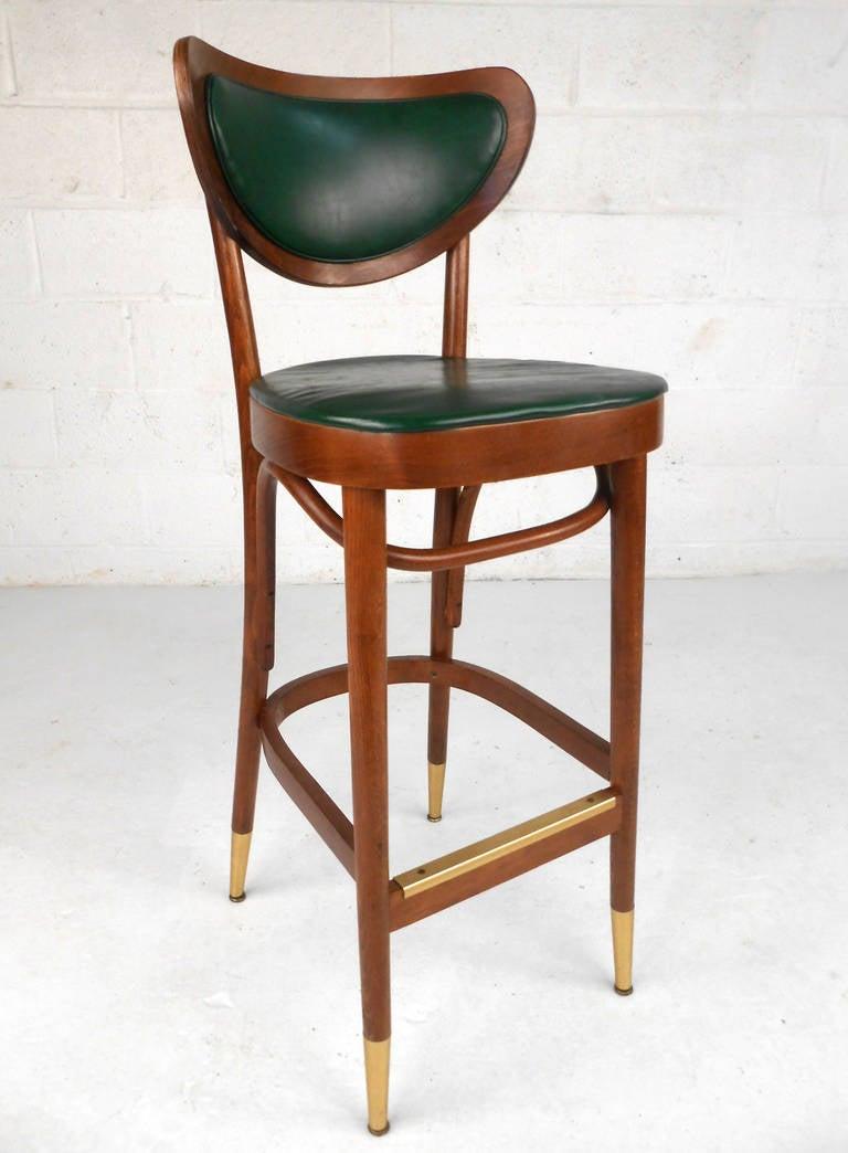 Set Of Mid Century Modern Walnut And Vinyl Barstools At