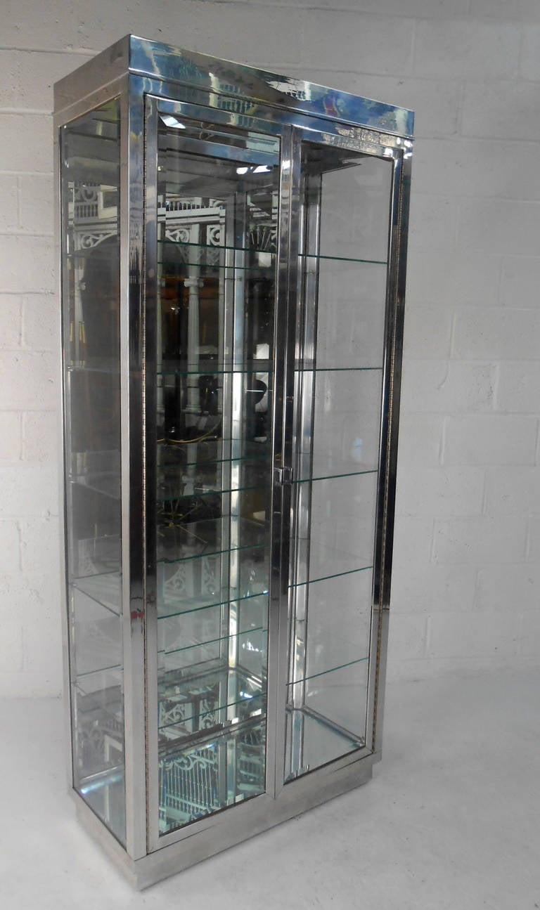 midcentury modern chrome and glass mirrored display cabinet 2