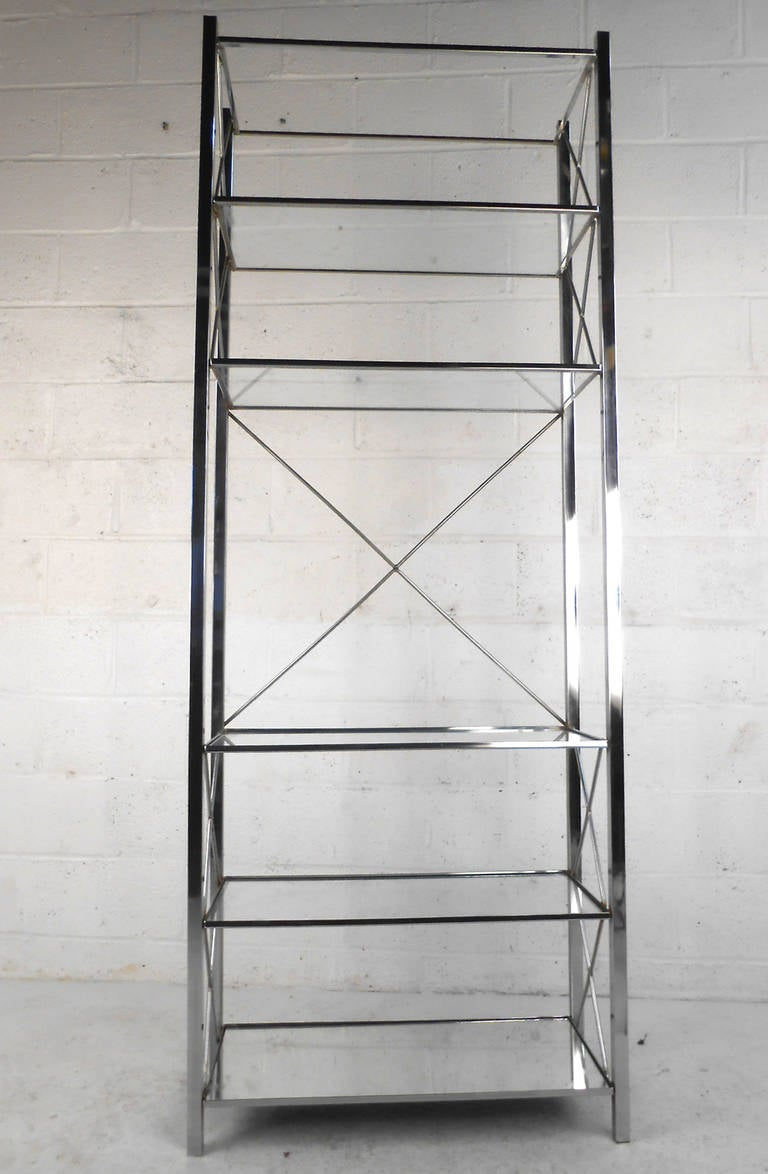 mid century modern chrome and glass display shelf etagere at 1stdibs. Black Bedroom Furniture Sets. Home Design Ideas