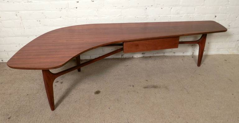 Unusual Mid Century Modern Kidney Coffee Table For Sale At