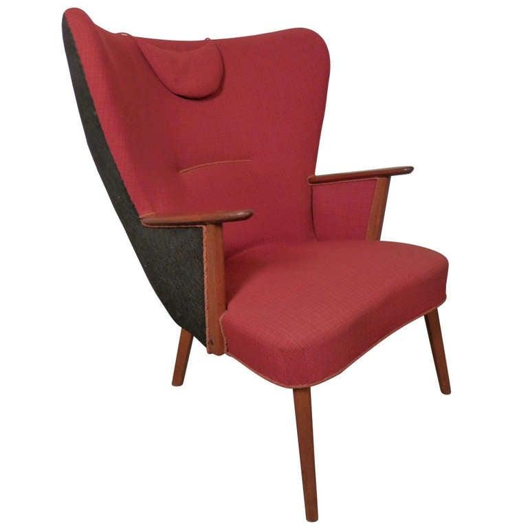 Hans Wegner Inspired Vintage Modern Wing Back Chair At 1stdibs