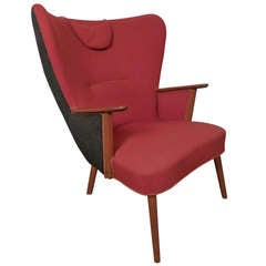 Hans Wegner Inspired Vintage Modern Wing Back Chair