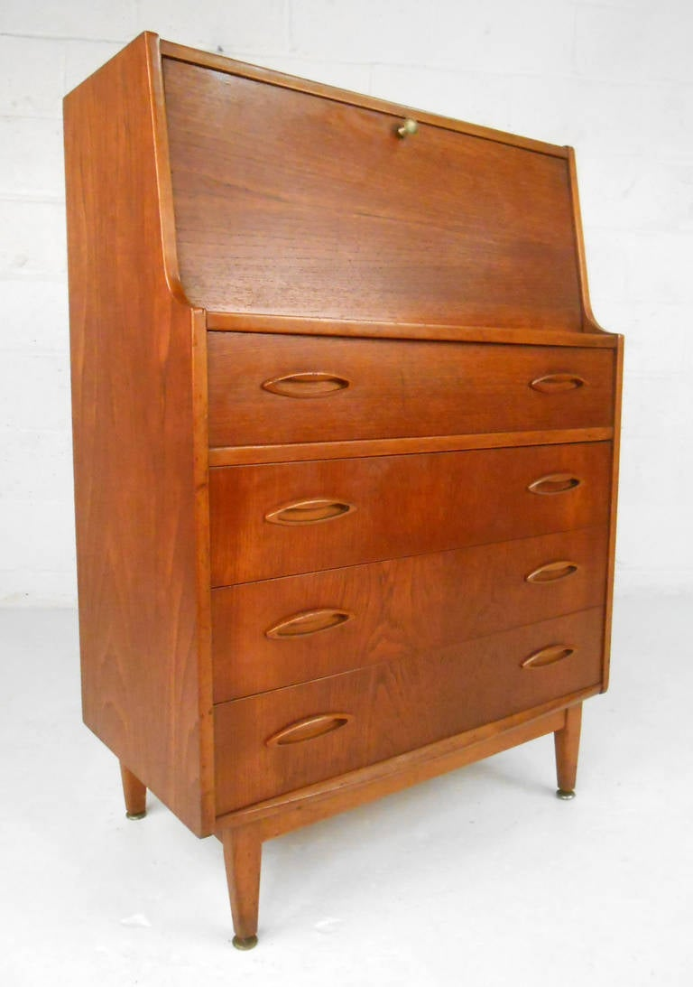 unique miniature mid century modern drop front secretary. Black Bedroom Furniture Sets. Home Design Ideas