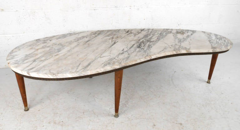 Exceptionnel This Unique Italian Marble Top Coffee Table Features Ornate Designer Frame,  Brass Feet, And
