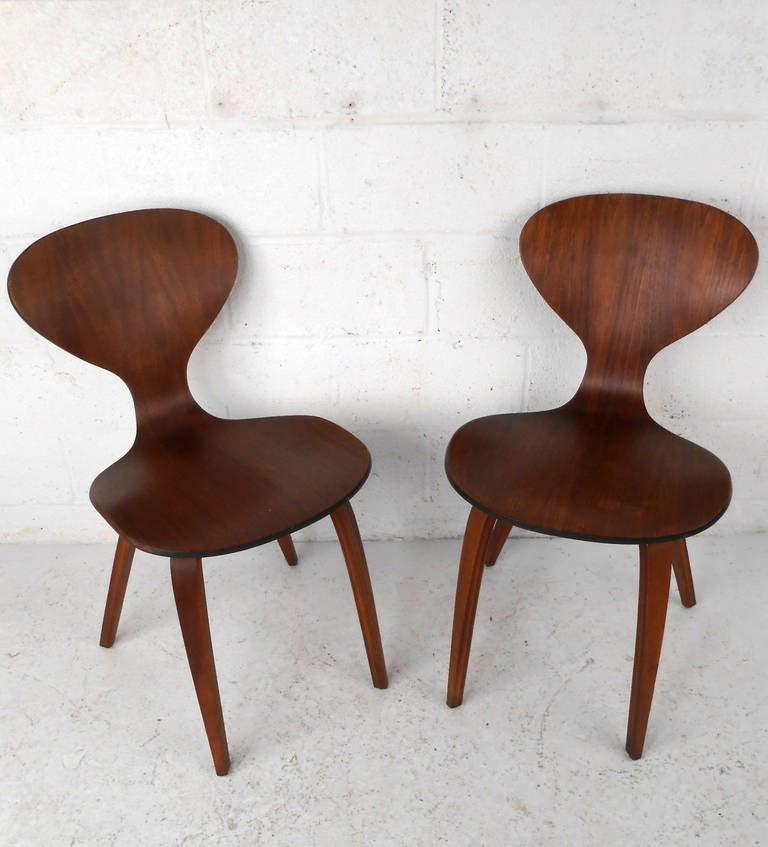 pair midcentury modern norman cherner plycraft side chairs 2