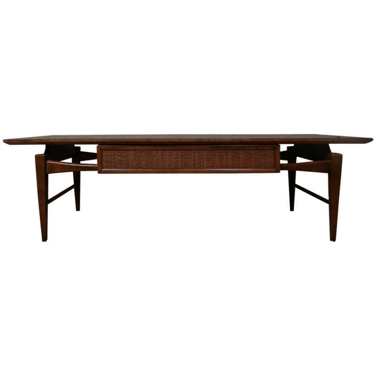 Mid-Century Modern Coffee Table W/ Drawer By Lane At 1stdibs