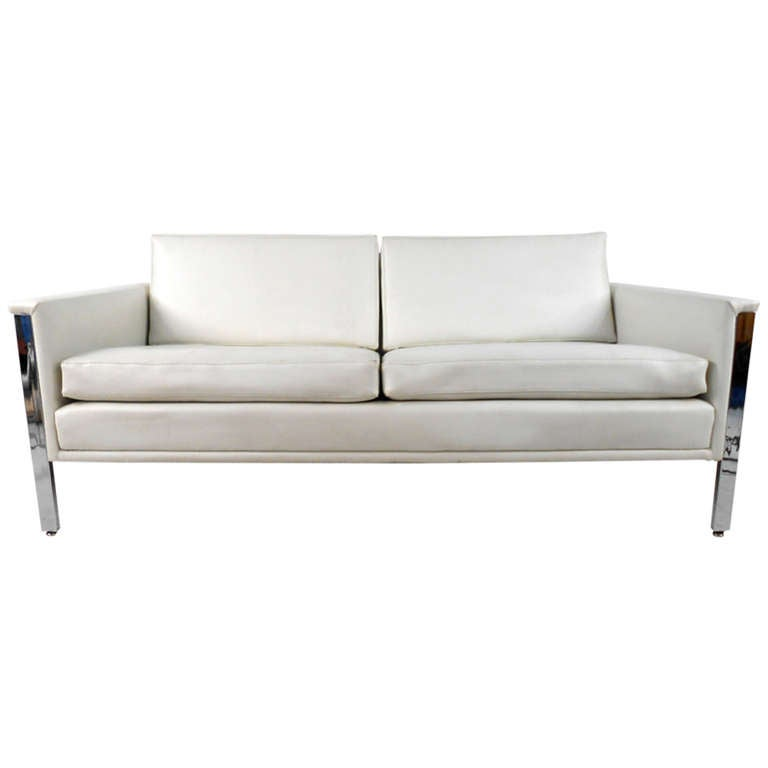 Vintage Vinyl And Chrome Sofa For Sale