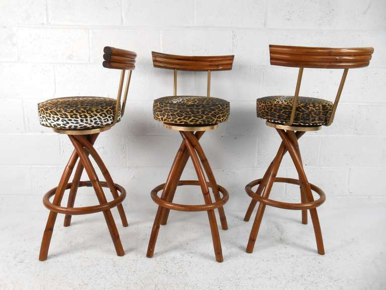 Set Of Mid Century Rattan Bar Stools At 1stdibs