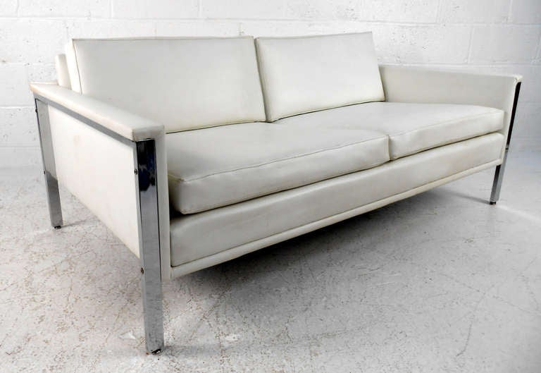 Mid Century Modern Vintage Vinyl And Chrome Sofa For Sale