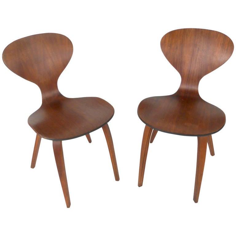 pair midcentury modern norman cherner plycraft side chairs 1