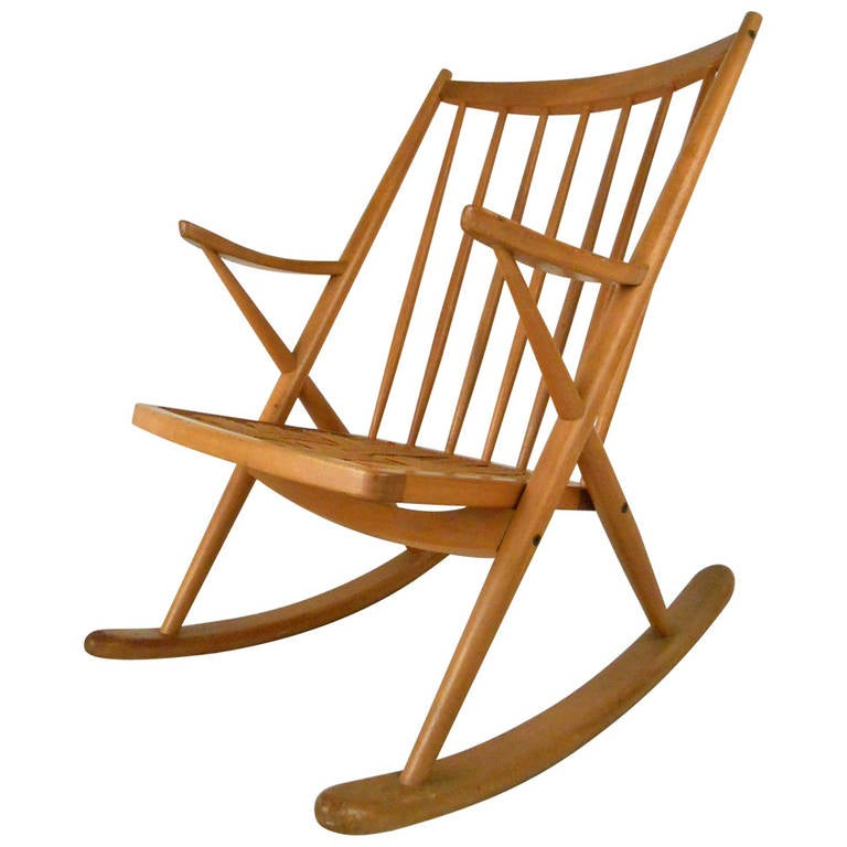 Modern Rocking Chair mid-century modern maple spoke back rocking chair at 1stdibs