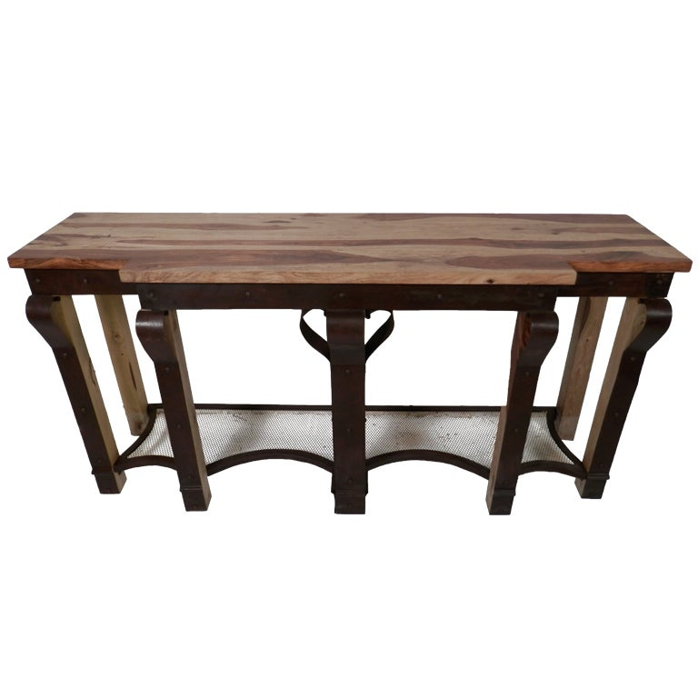 Beautiful metal and wood console table for sale at 1stdibs for Metal and wood console tables
