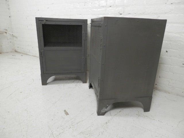 Industrial Wood And Metal Nightstand: Pair Of Industrial Metal Locker Style Side Tables At 1stdibs
