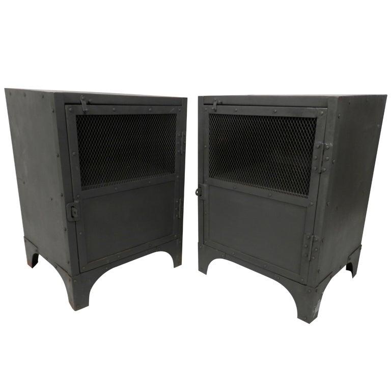 Pair Of Industrial Metal Locker Style Side Tables at 1stdibs
