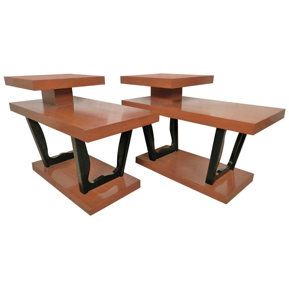 Mid-Century Modern Two Tier Side Tables at 1stdibs