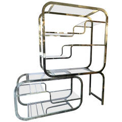 Exquisite Mid-Century Polished Brass Etagere by Milo Baughman