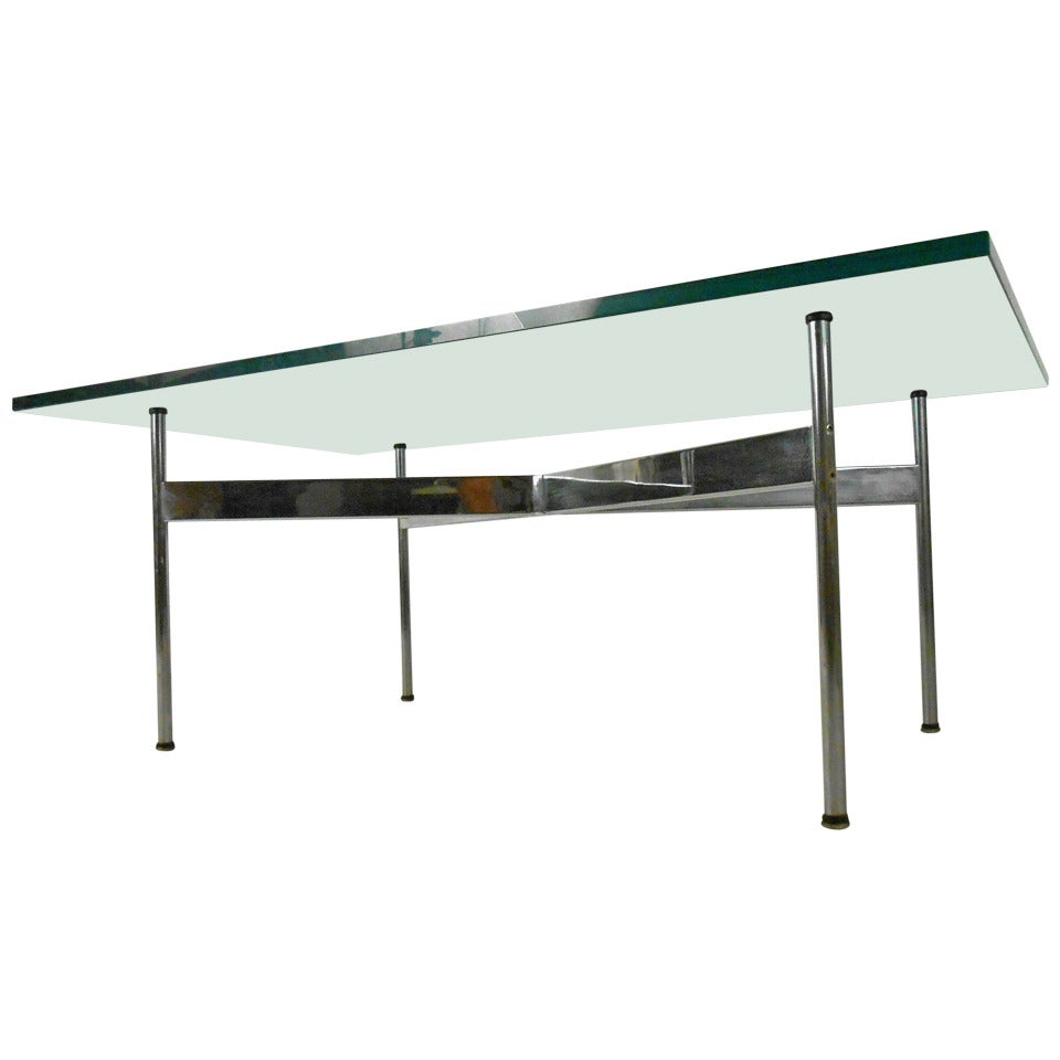 Mid Century Modern Chrome And Glass Coffee Table For Laverne International For Sale At 1stdibs