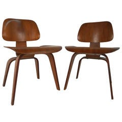 Pair of Ray and Charles Eames DCW Side Chairs