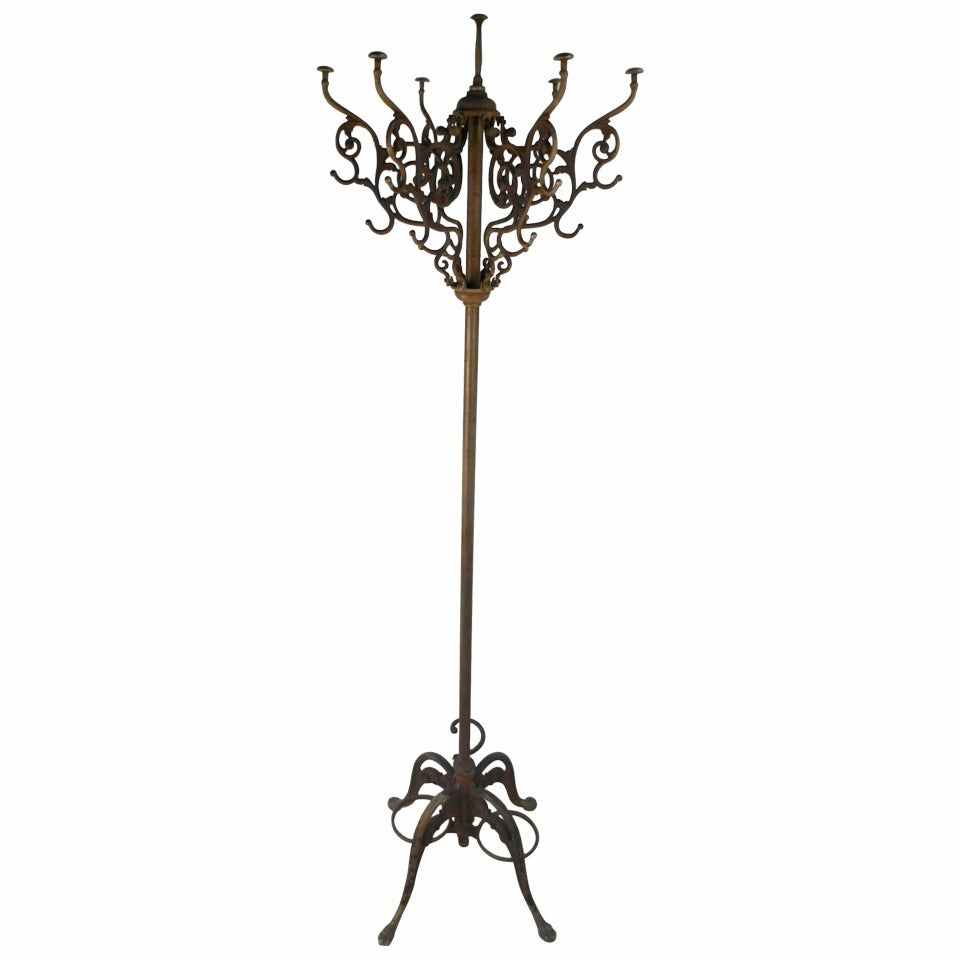 Unique Victorian Style Cast Iron Coat And Hat Rack At 1stdibs