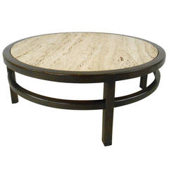 John Widdicomb Coffee Table With Travertine Top