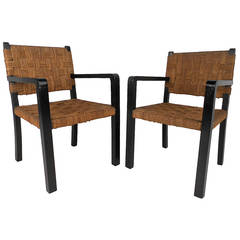 Pair Unique Mid-Century Modern Rope Side Chairs