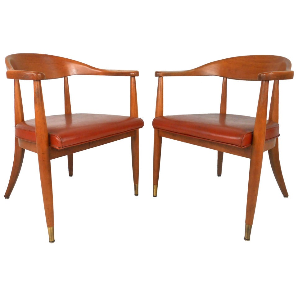 Pair mid century modern hans wegner style dining chairs at for Modern dining furniture