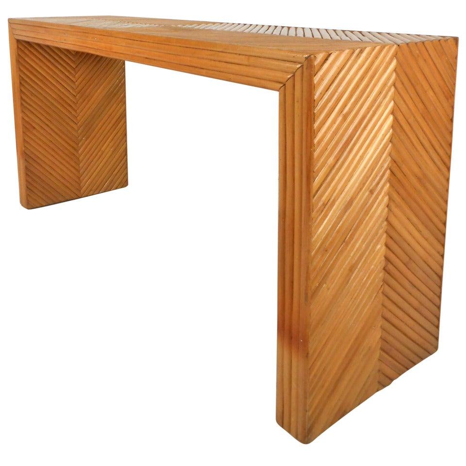 Mid Century Modern Gabriella Crespi Style Bamboo Rattan Console Table 1