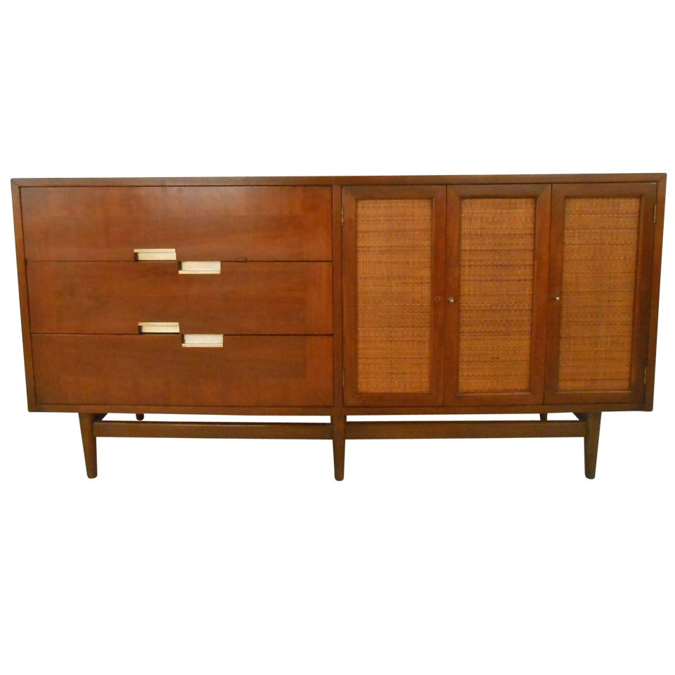 Mid Century Walnut Credenza By American Of Martinsville For