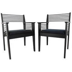 Pair of Unique Spoke Back Mid-Century Modern Style Side Chairs