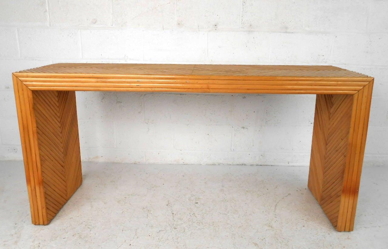 Mid Century Modern Gabriella Crespi Style Bamboo Rattan Console Table 3