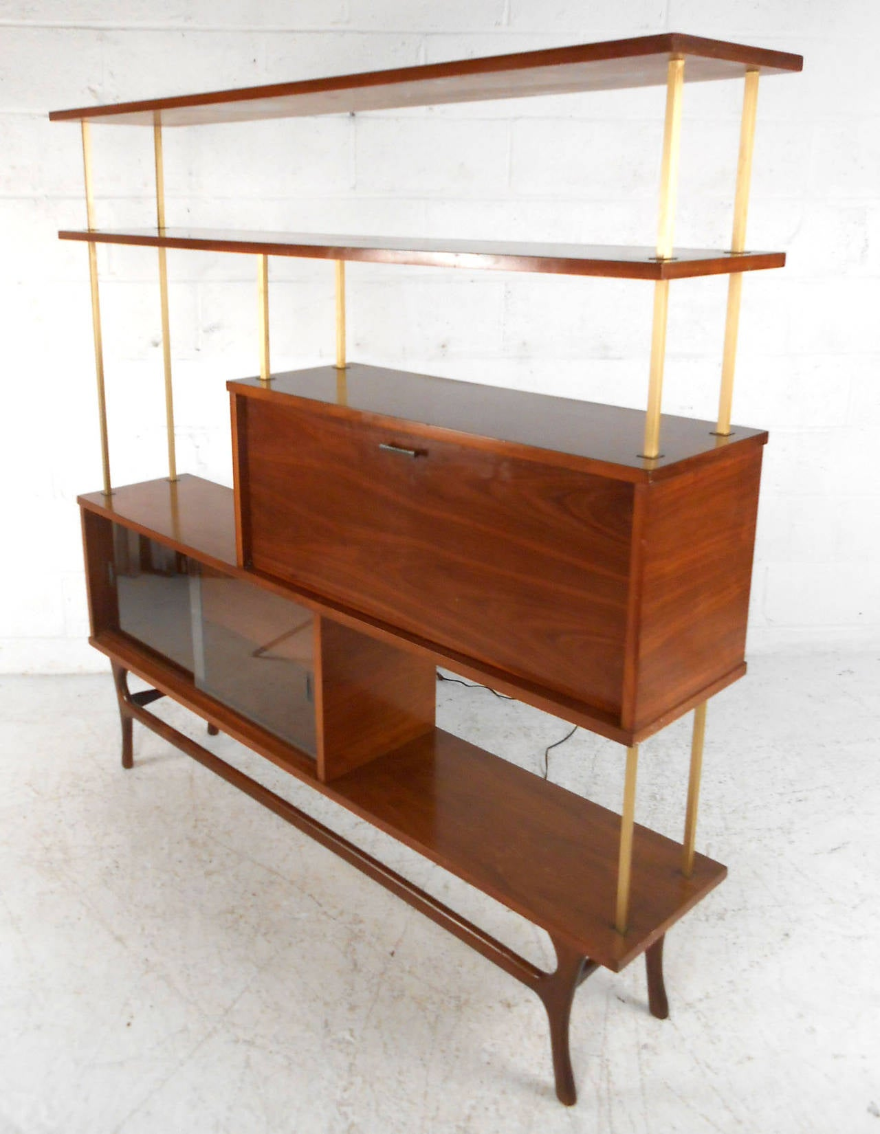 This Beautiful Vintage Display Features A Combination Of Open Shelf E Cabinet Storage And