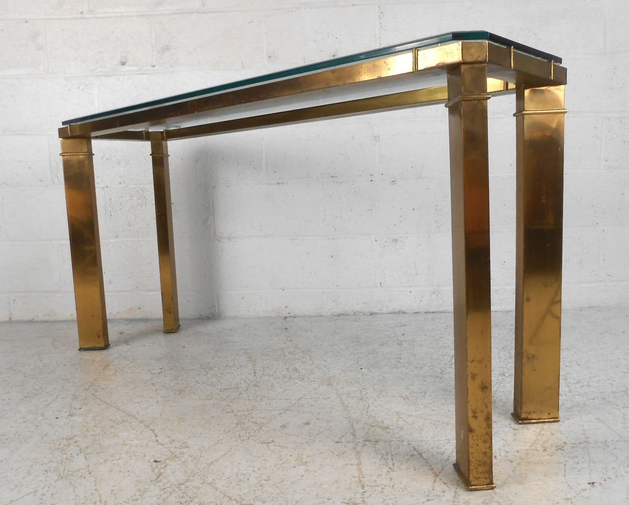 Charming Elegant Brass And Glass Console Table By Mastercraft 2