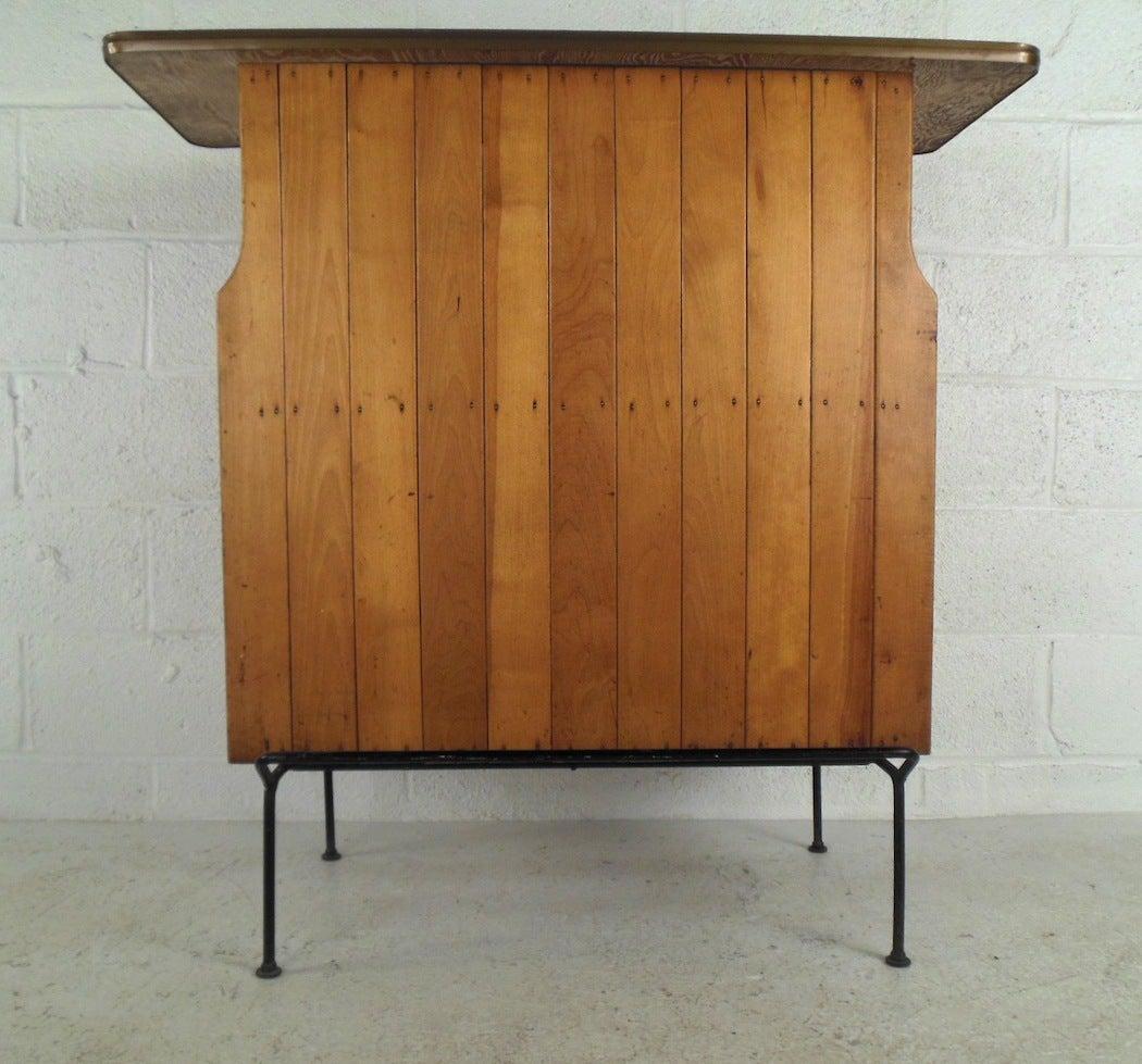 Mid Century Modern Arthur Umanoff Style Slat Bar With