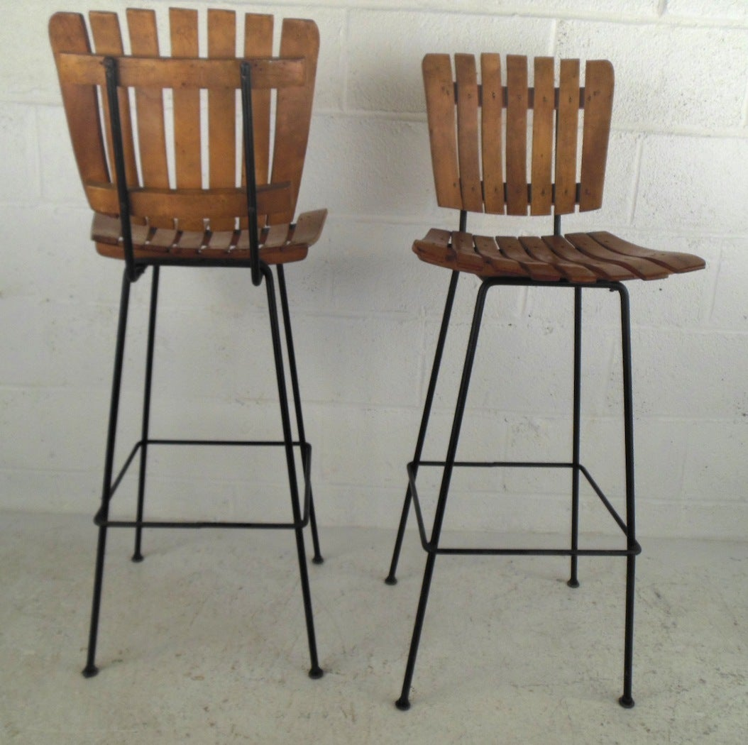 Mid century modern arthur umanoff style slat bar with stools image 10